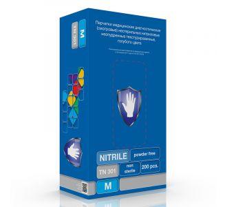 Перчатки нитриловые голубые размер XS, 200 шт, SC TN 301