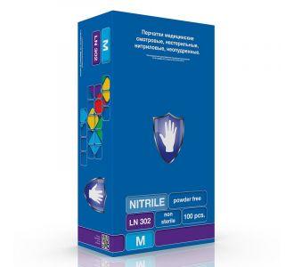 Перчатки нитриловые фиолетовые размер M, 200 шт, SC LN 303