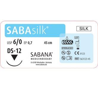 ШелкSabana Medizinbedarf Sabasilk 6-0 игла обратно-режущая DS-12, окр.3/8 раскрой, цвет черный, 45см