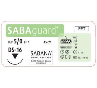 Полиэстер 5-0 Sabana Sabaguard, режущая игла DS-16, окружность 3/8, цвет зеленый, 45см